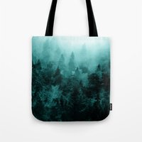 fractal Tote Bags featuring Fractal Forest by Klara Acel