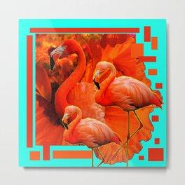 TURQUOISE & RED ART 3 SAFFRON FLAMINGOS Metal Print