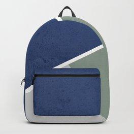 Navy Sage Gray Geometric Backpack