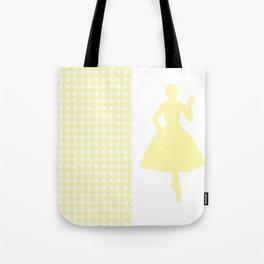 Cream Modern Houndstooth w/ Fashion Silhouette Tote Bag