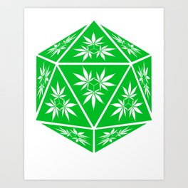 D20 Pot Leaf Crit Dice Art Print