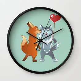 Fox And Wolf Wall Clock