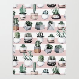 Potted Cactus Stripes Pink Rose Gold Poster