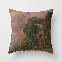 John Constable - A View at Hampstead with Stormy Weather Throw Pillow