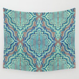 Marker Moroccan in Aqua, Cobalt Blue, Taupe & Teal Wall Tapestry