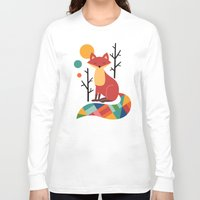 grey Long Sleeve T-shirts featuring Rainbow Fox by Andy Westface