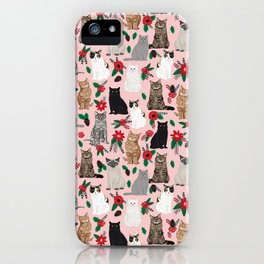 Catsmas christmas poinsettias florals cat breeds pet friendly festive holiday gifts iPhone Case