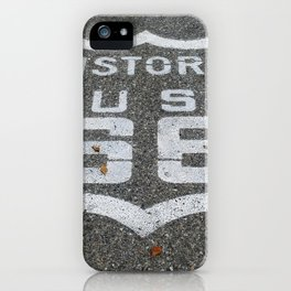 Route 66 sign on the road iPhone Case