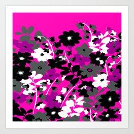 SUNFLOWER TOILE PINK BLACK GRAY WHITE PATTERN Art Print