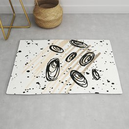 The Visitors - Black White and Gold Rug