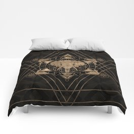 Elephant in Sacred Geometry Composition - Black and Gold Comforters