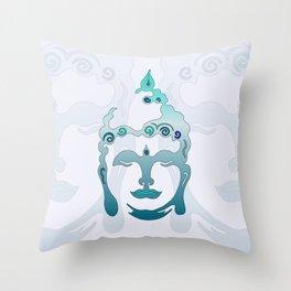 Buddha Head turquoise I Throw Pillow