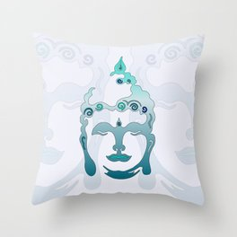 Buddha Head turquoise I Throw Pillow