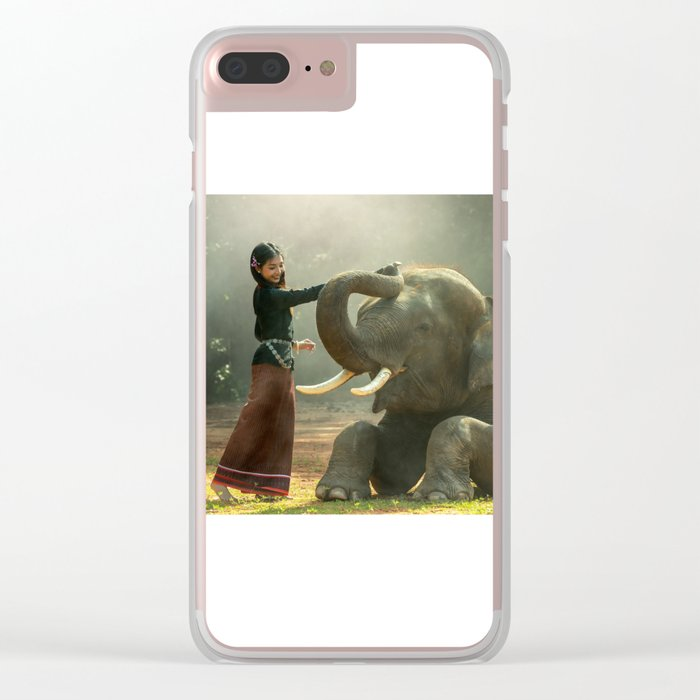 Cambodian girl and her elephant Clear iPhone Case