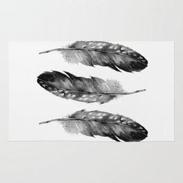 Three Feathers Black And White Rug
