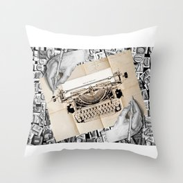 Drawing Hands and Writing Hands Throw Pillow