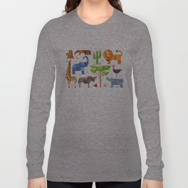 Geometric animals in savannah Long Sleeve T-shirt