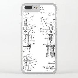 Cork Screw Patent - Wine Art - Black And White Clear iPhone Case