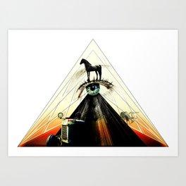 Black Horse Collage Art Art Print