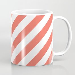 cute girly spring apricot peach coral pink white stripes  Coffee Mug