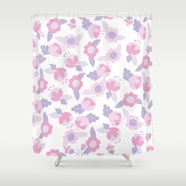 Hand painted pastel pink lavender modern floral Shower Curtain