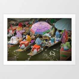 Food boats. Amphawa Art Print