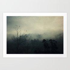 moody fog mountain Art Print