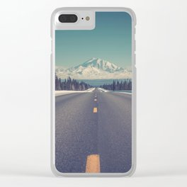 Snow Mountain Road (Color) Clear iPhone Case