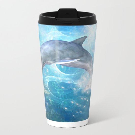 Cute dolphin Metal Travel Mug