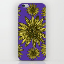 Contrasting Daisy Pop Yellow Daisies on Purple iPhone Skin