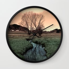 A stream, dry grass, reflections and trees II | waterscape photography Wall Clock