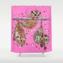Possum trio on a branch - Pink Shower Curtain