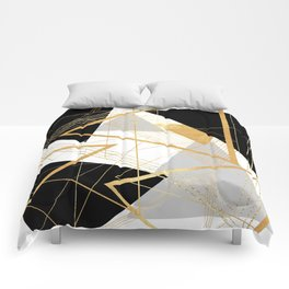 Black and Gold Geometric Comforters