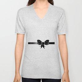 Black Silk Bow Unisex V-Neck