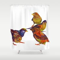 takmaj Shower Curtains featuring Sparrows by takmaj
