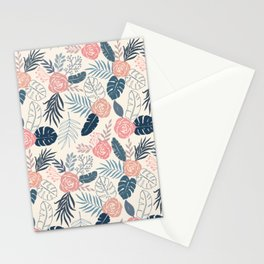 Blue and Blush Tropical Floral Pattern Stationery Cards