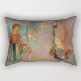 """Odilon Redon """"Woman in a gothic arcade - Woman with flowers"""" Rectangular Pillow"""