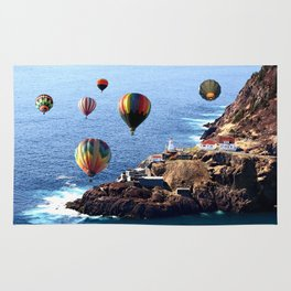 Flying Colorful Hot air Balloons over Newfoundland Rug