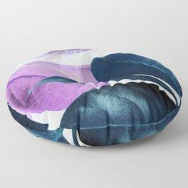 Blue Violet Leaves Floor Pillow