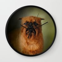 brussels Wall Clocks featuring The Brussels Griffon by Jai Johnson
