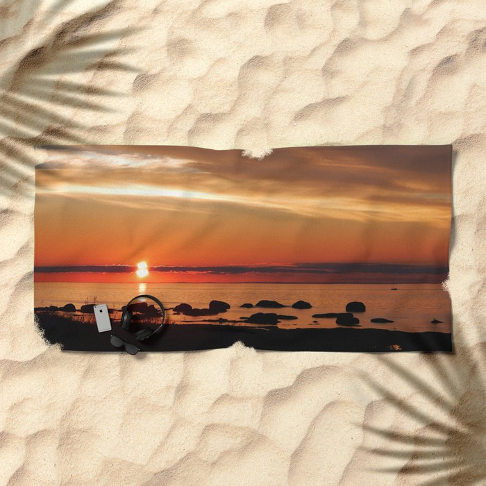 Cruising into the Sunset Beach Towel