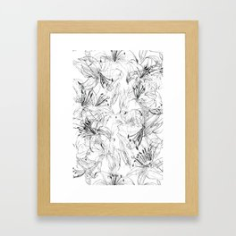 lily sketch black and white pattern Framed Art Print