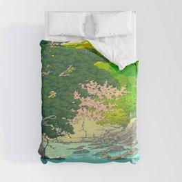 Vintage Japanese Woodblock Print Beautiful Water Creek Grey Rocks Green Trees Comforters