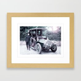 A Delaunay-Belleville limousine and chauffeur, somewhere in France. Infrared art by Ahmet Asar Framed Art Print