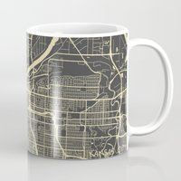 kansas Mugs featuring Kansas City map by Map Map Maps
