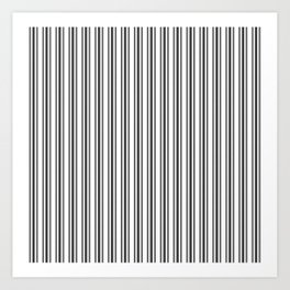 Large French Black and White Mattress Ticking Double Stripes Art Print