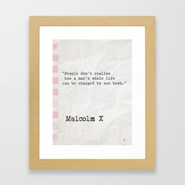 Malcolm X quote about books Framed Art Print