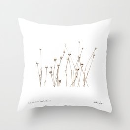 Last year's daisies, topped with snow Throw Pillow