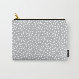 Silver Gray and White Polka Dot Pattern Carry-All Pouch