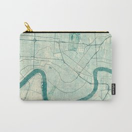 New Orleans Map Blue Vintage Carry-All Pouch